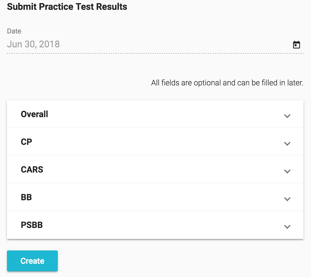 Submit practice test results
