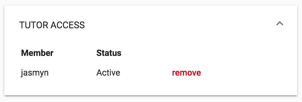 Tutor access active