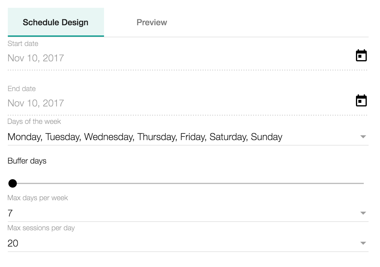 Custom scheduling options