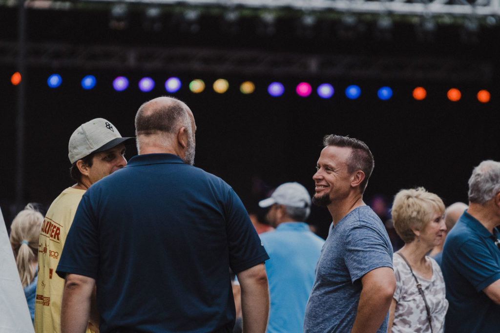 Pastor Mark Bunting hanging out at the National Folk Festival 2018