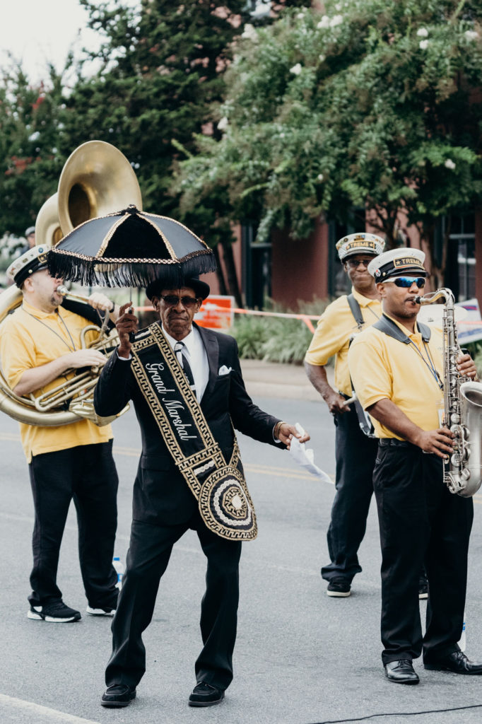Treme Brass Brand on Mill Street in Salisbury MD during the National Folk Festival 2018
