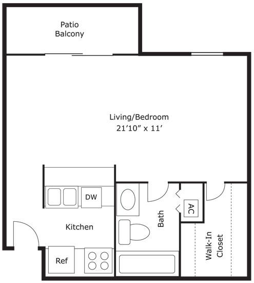 1 Beds 1 Baths 440 Sq Ft Plan 924 7: 0 Bed - 1 Bath - 440 Sq Ft