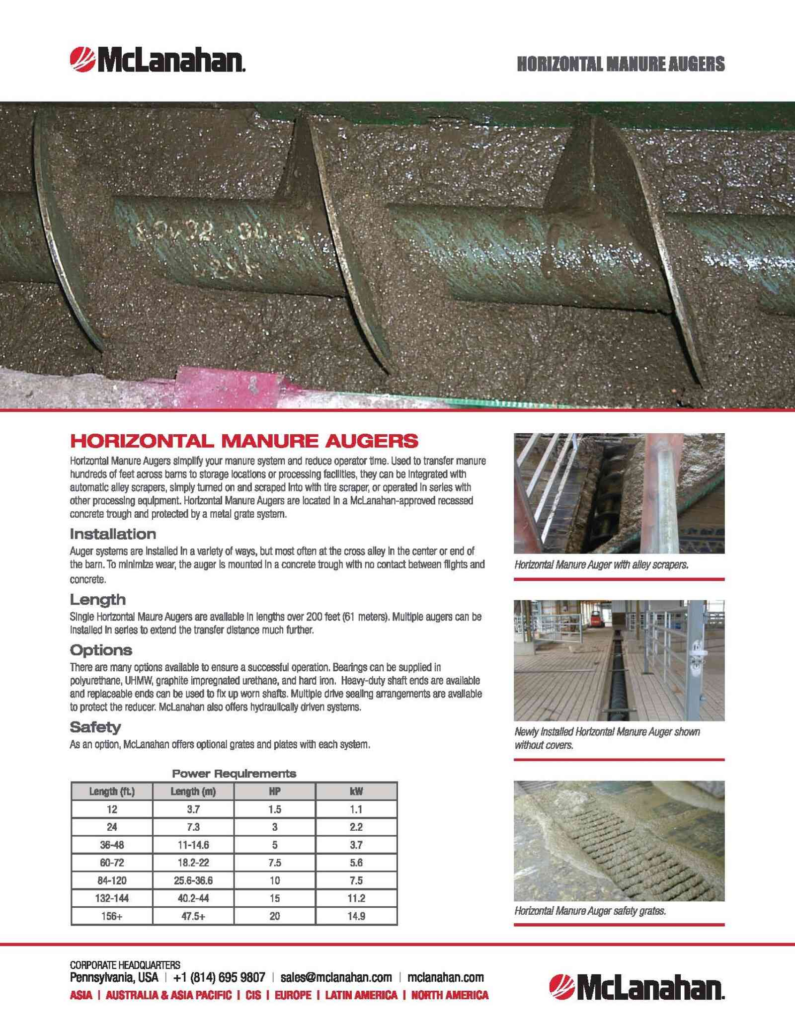Horizontal Manure Auger Brochure Image Preview