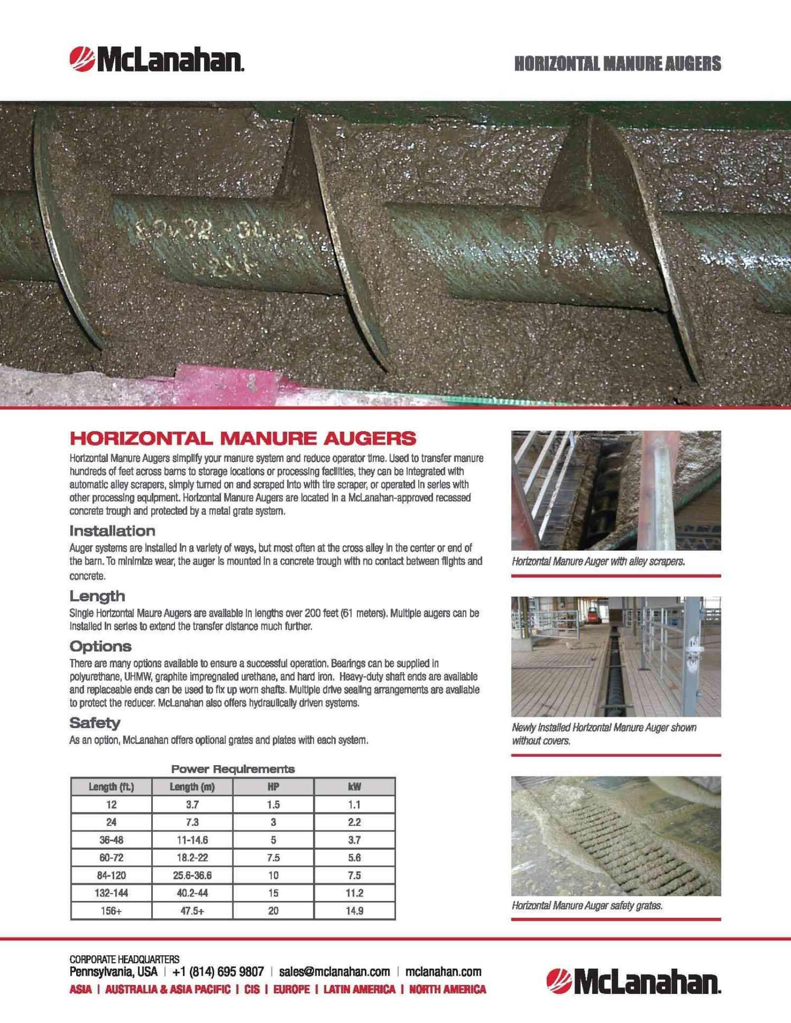Horizontal Manure Auger Brochure Image Preview
