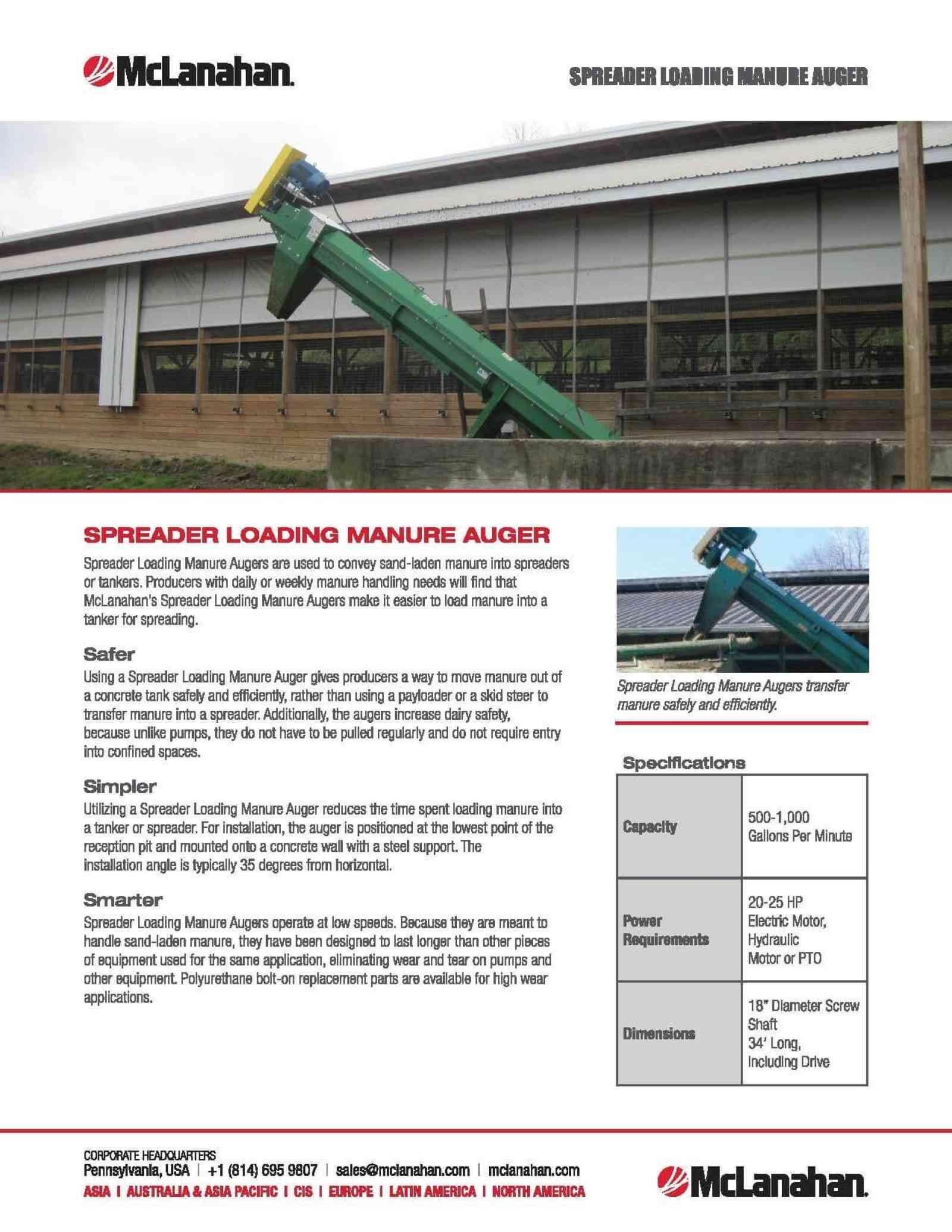 Spreader Loading Manure Auger Brochure Image
