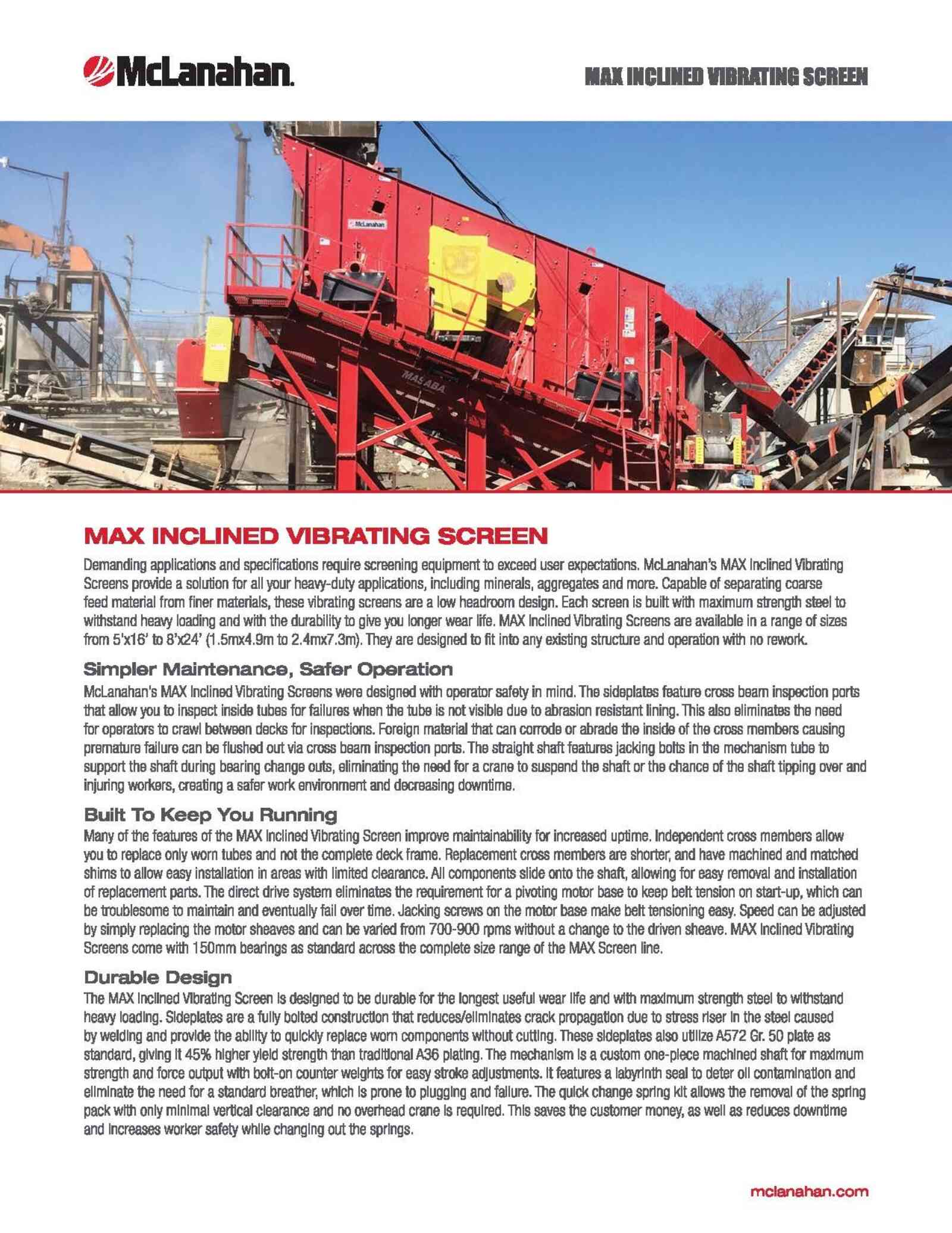 Max Inclined Vibrating Screen Brochure Image Page 1