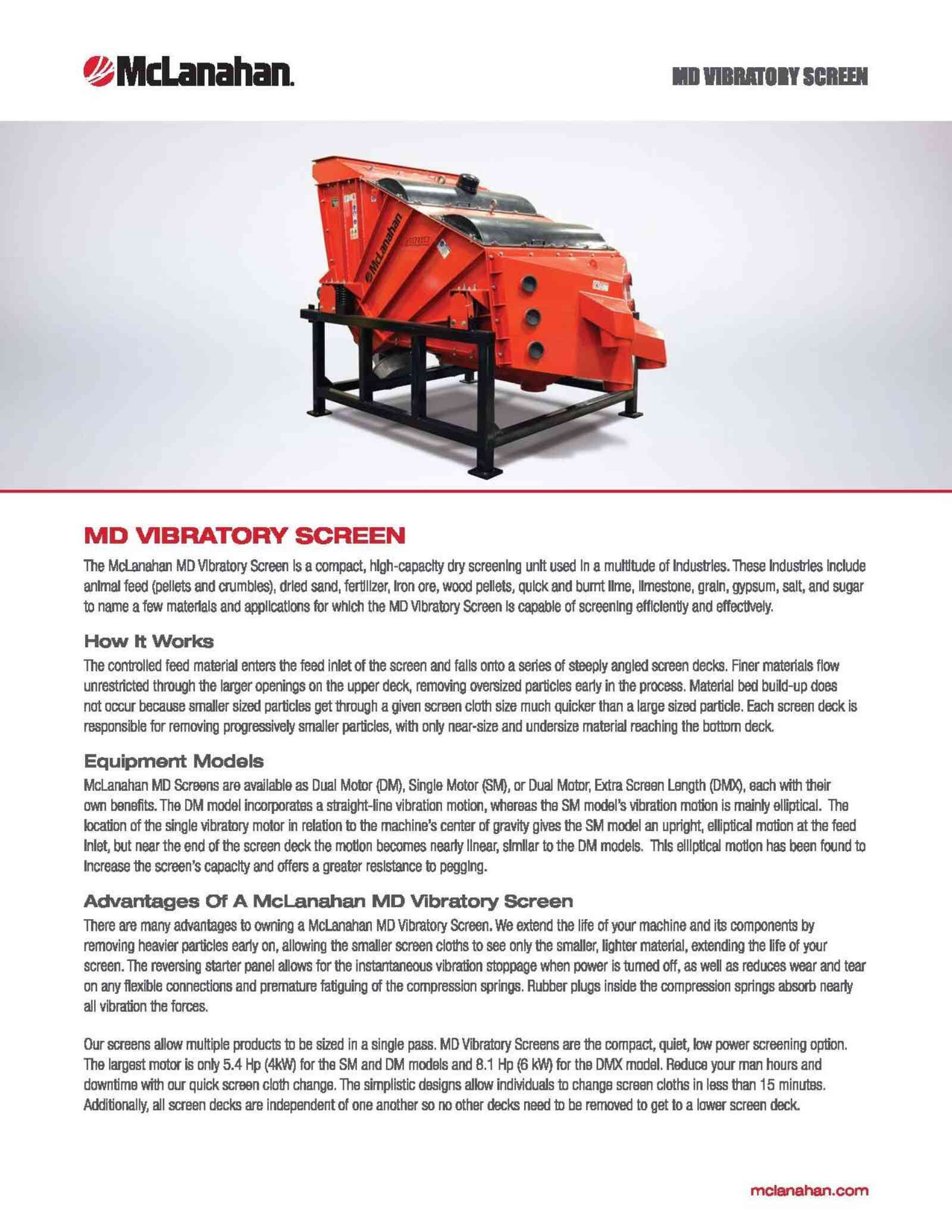 Md Vibratory Screen Brochure Image Page 1