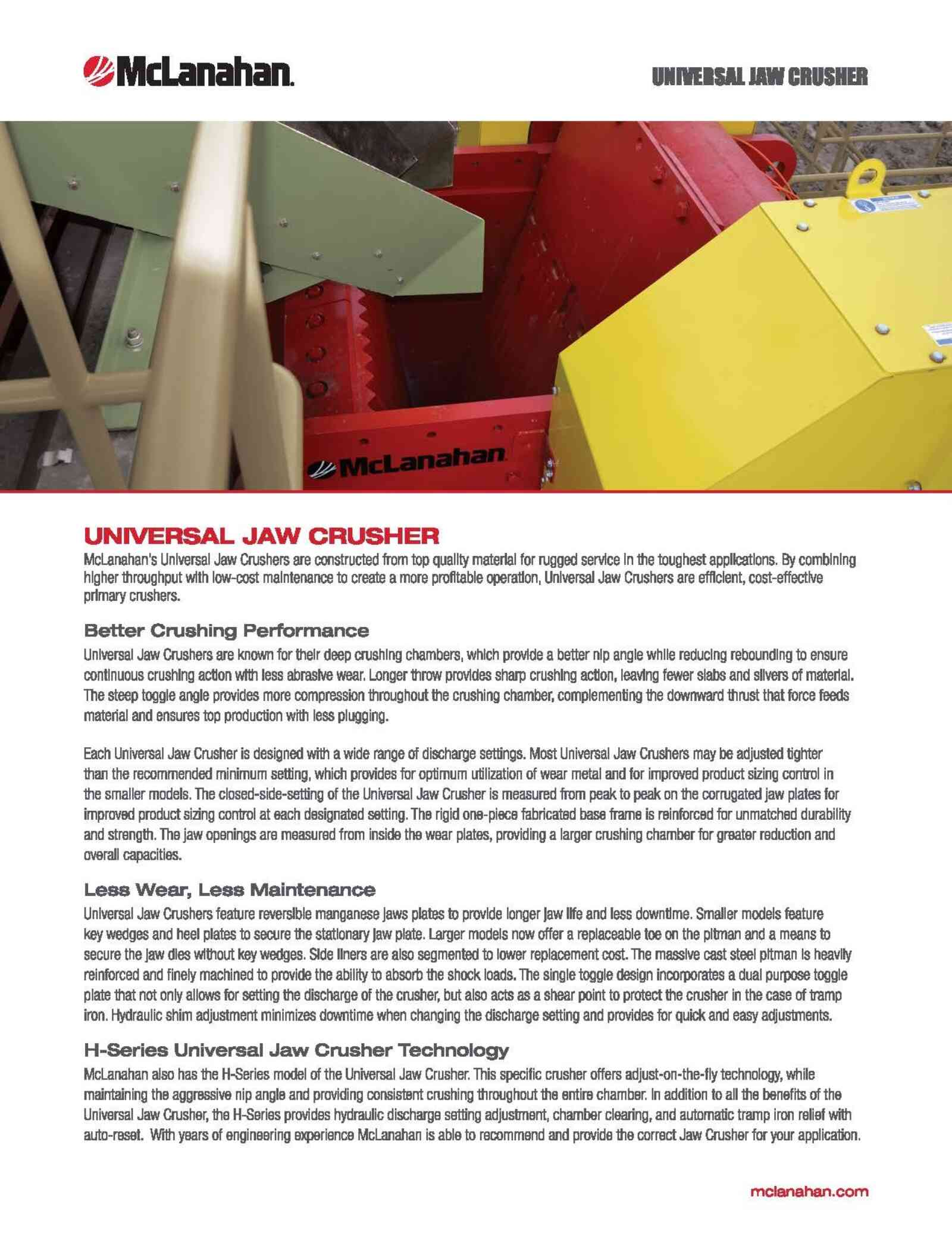 Universal Jaw Crusher Brochure Image Page 1