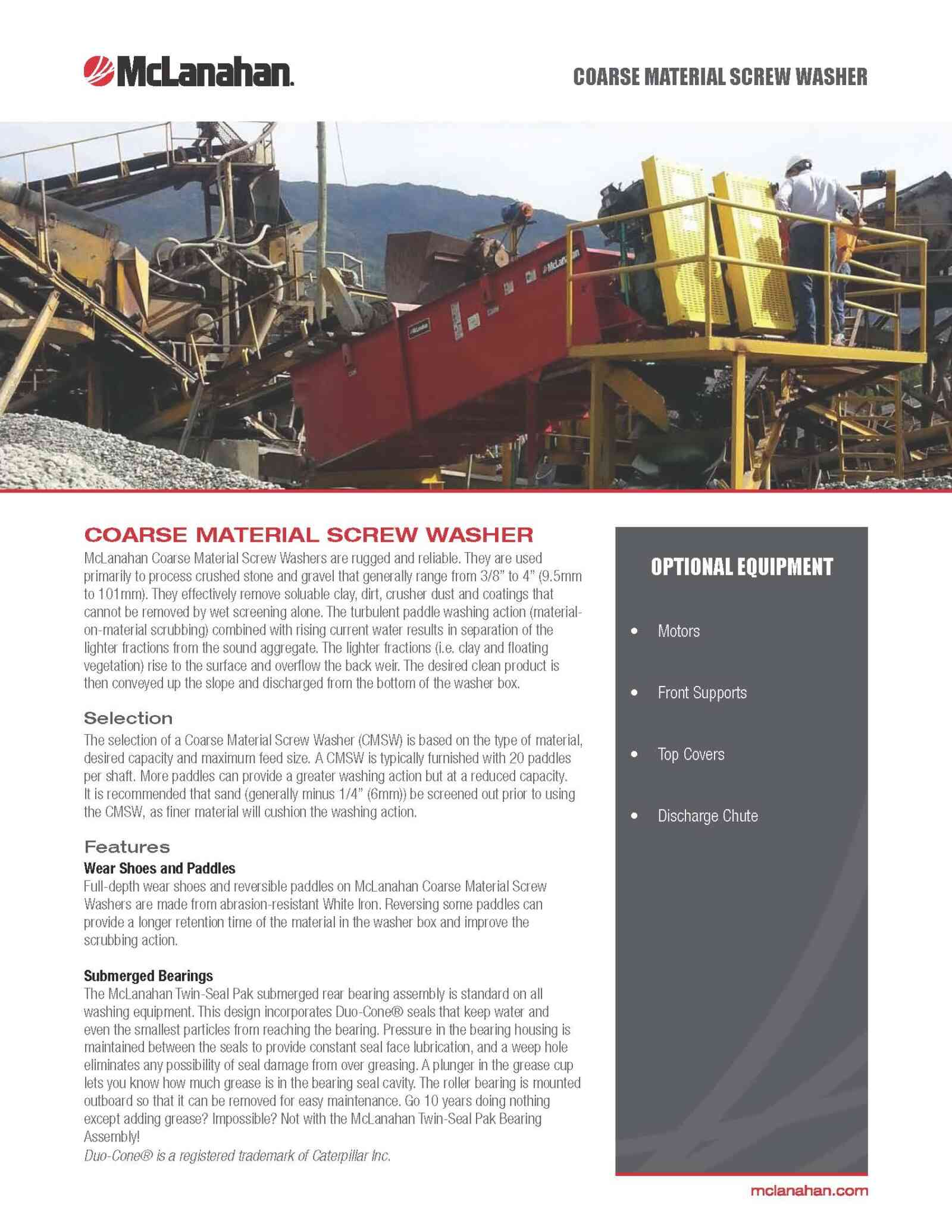 Coarse Material Screw Washer Brochure Preview Page 1