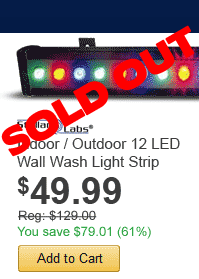Indoor / Outdoor 12 LED Wall Wash Light Strip - only $49.99