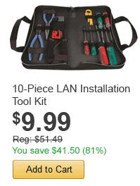 10-Piece LAN Installation Tool Kit - only $9.99
