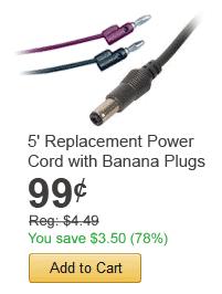 5in Replacement Power Cord with Banana Plugs - only $0.99