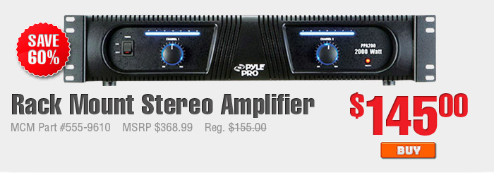 Rack Mount Stereo Amplifier $145.00