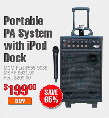 Portable PA System with iPod Dock $199.00