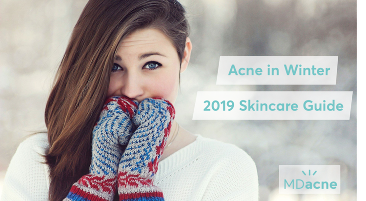 Woman protecting her skin to prevent acne from the cold winter air