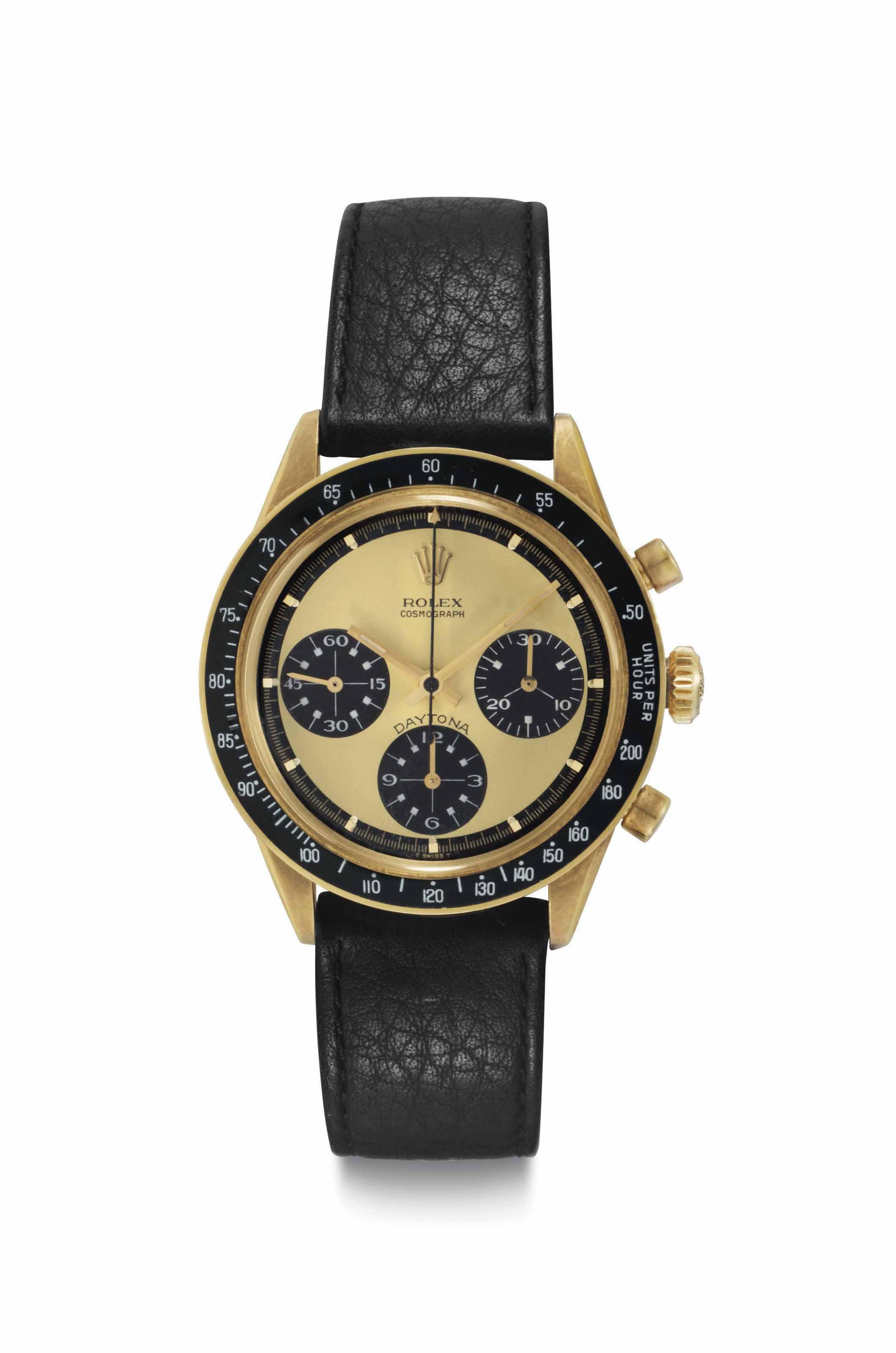 fc39a2565aa Rolex. An Extremely Rare, Fine, and Attractive 18k Gold Chronograph  Wristwatch with Lemon ''Paul Newman'' Dial and White Numerals to the  Subsidiary Dials ...