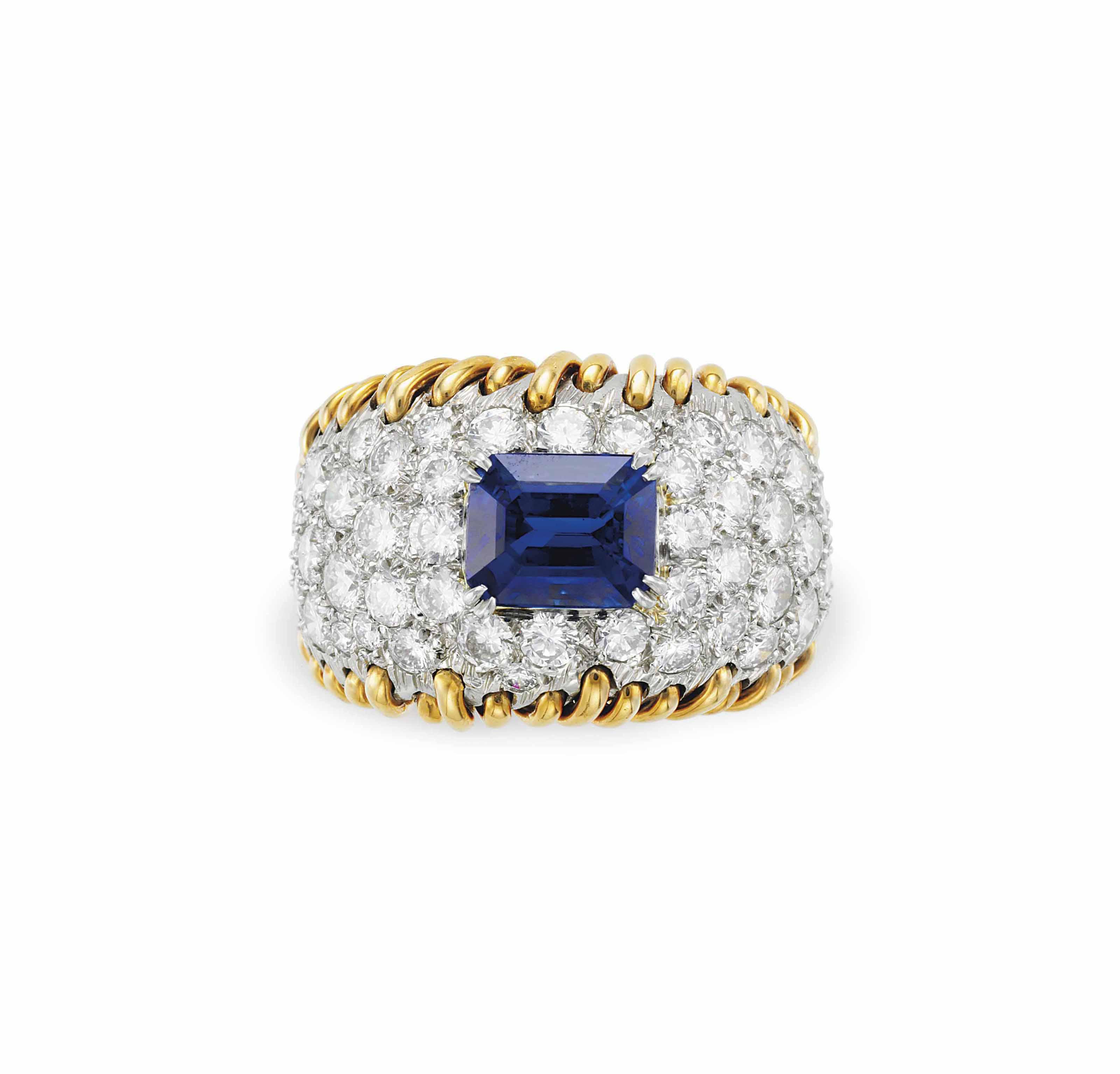c4be991d9 A SAPPHIRE, DIAMOND AND GOLD 'STITCHES' RING, BY JEAN SCHLUMBERGER, TIFFANY  & CO.