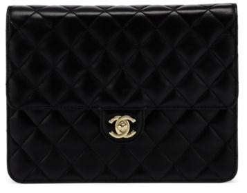 e9c86db07a89 CHANEL, 1997-1999 A BLACK LAMBSKIN LEATHER SQUARE SINGLE FLAP CLUTCH WITH  GOLD HARDWARE