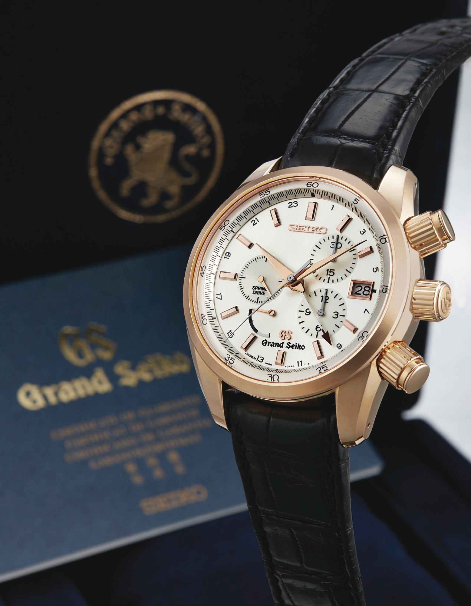 Seiko - AN UNIQUE PINK GOLD AUTOMATIC DUAL TIME ZONE CHRONOGRAPH WRISTWATCH  WITH DATE AND POWER RESERVE INDICATION GRAND SEIKO SPRING DRIVE CHRONOGRAPH  ...