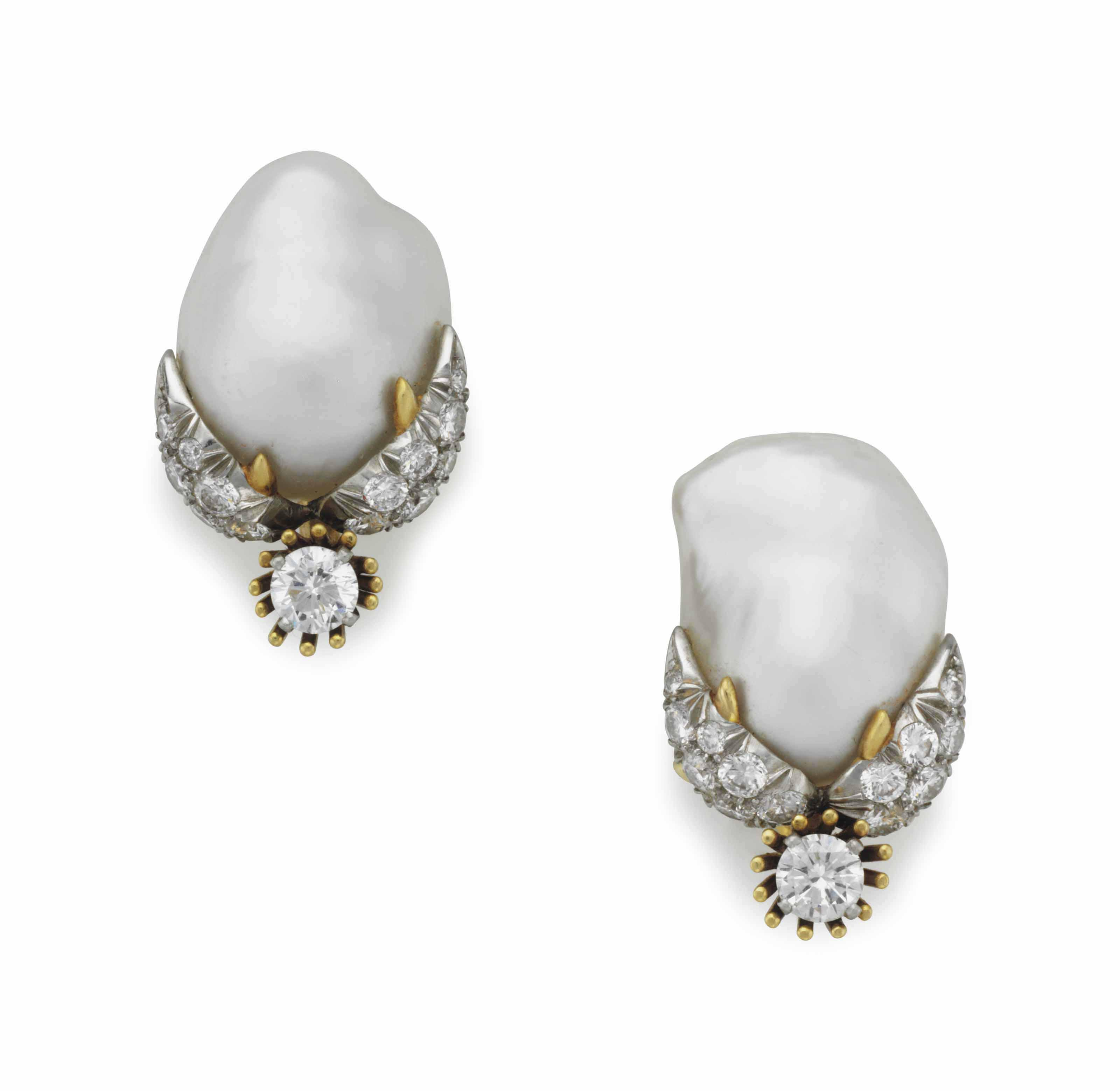 ec17872ba A PAIR OF BAROQUE CULTURED PEARL, DIAMOND AND GOLD EARRINGS, BY JEAN  SCHLUMBERGER, TIFFANY & CO.