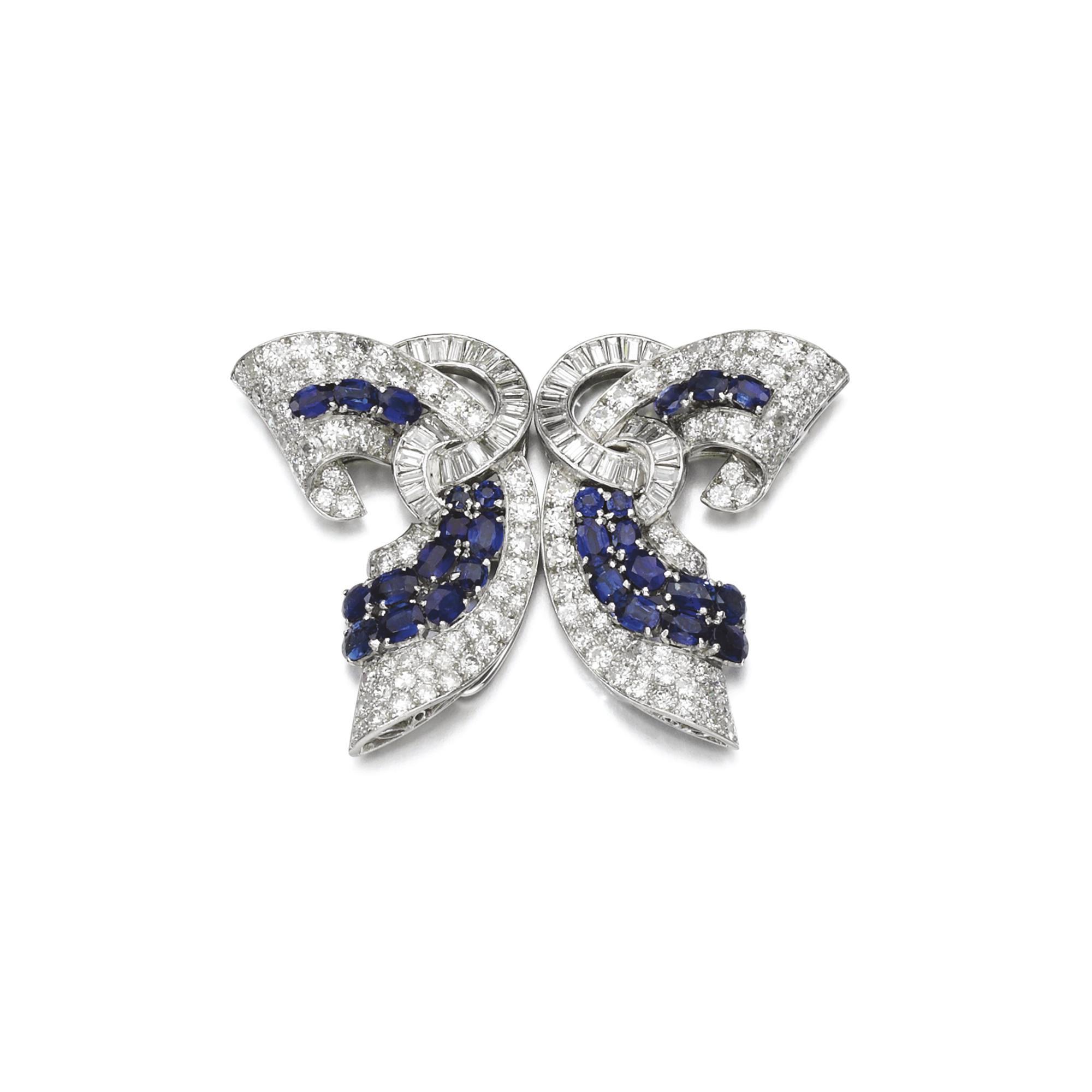 dad32fc21 Sapphire and diamond double-clip brooch, circa 1935