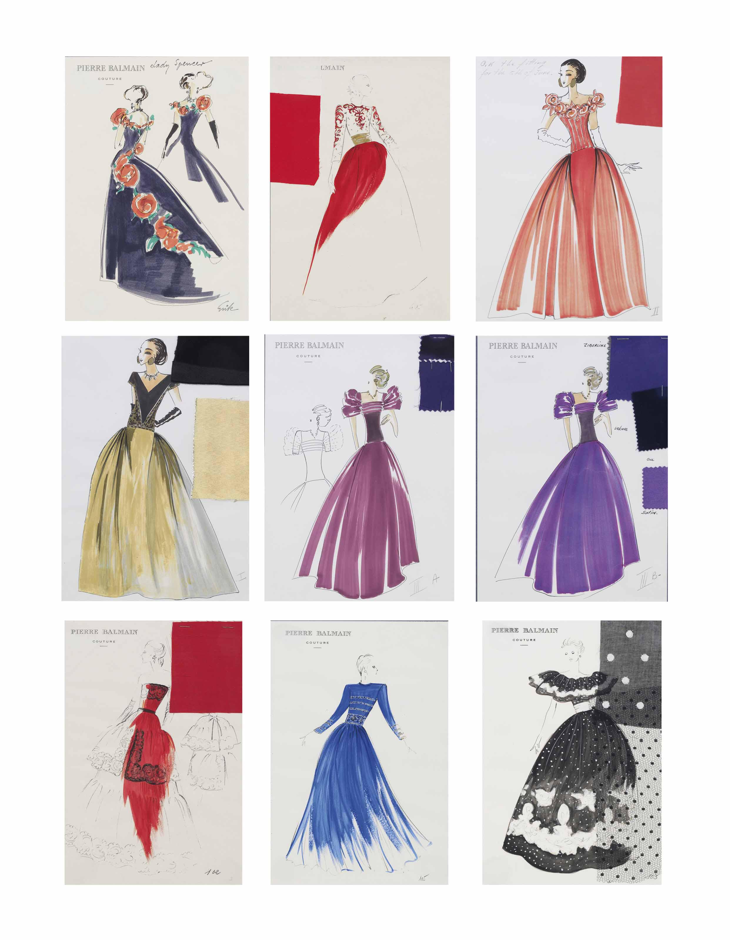 2ac48c40 Pierre Balmain (1914-1982) Nine couture designs for Lady Spencer
