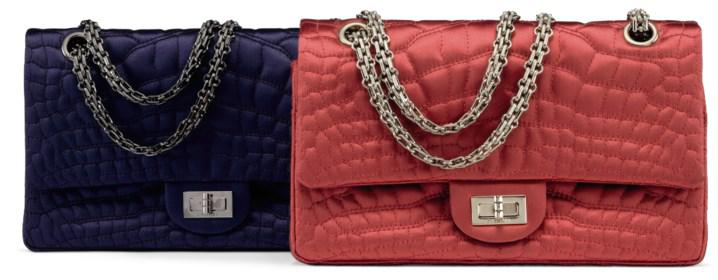 5d3838e7aea6 CHANEL, 2008-2009 A SET OF TWO:A NAVY SATIN CROCO QUILTED SMALL 2.55  REISSUE DOUBLE FLAP BAG WITH GUNMETAL HARDWAREA RED SATIN CROCO QUILTED  SMALL 2.55 ...