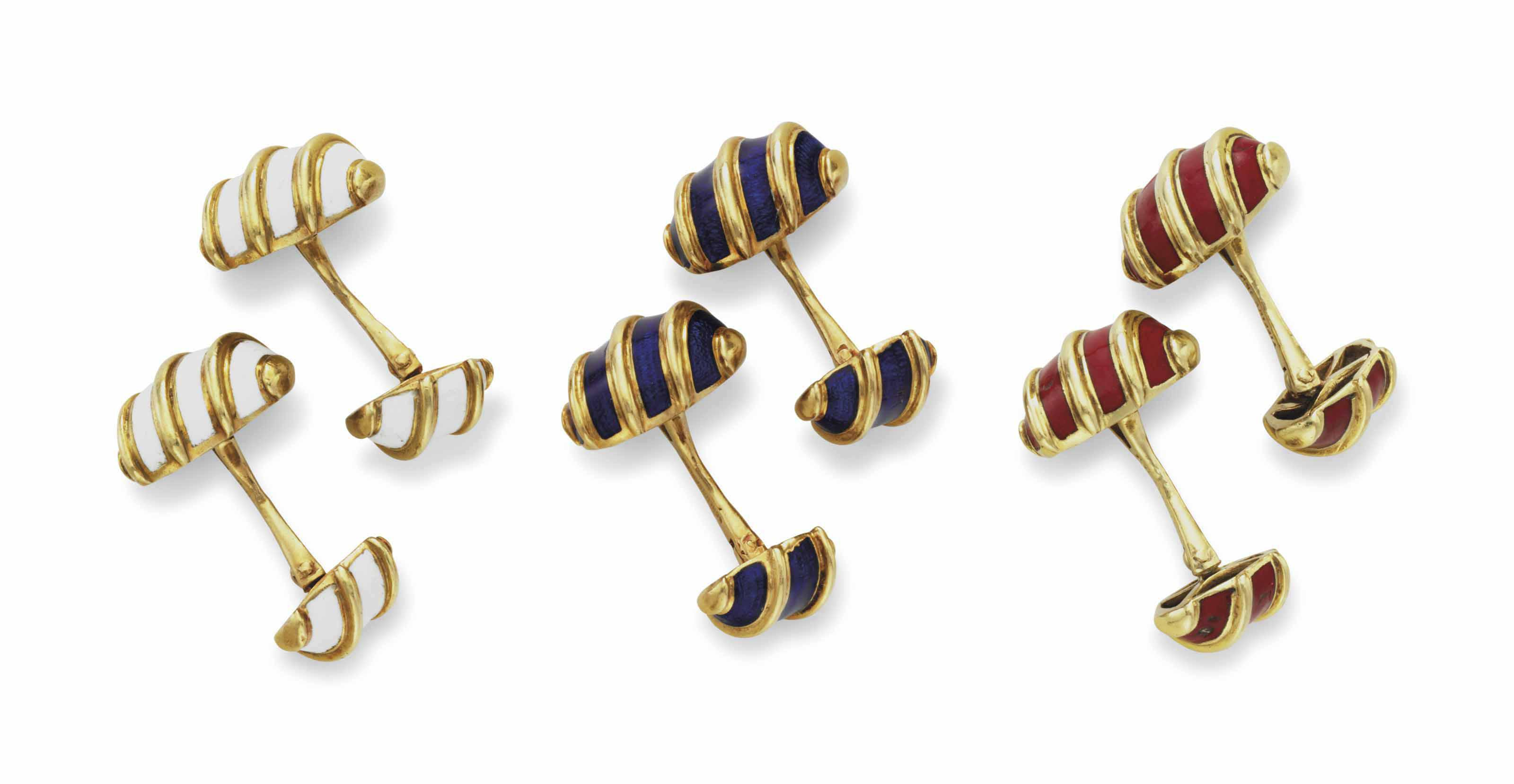 bec1ad018 THREE PAIRS OF GOLD AND ENAMEL CUFFLINKS BY JEAN SCHLUMBERGER FOR TIFFANY &  CO.