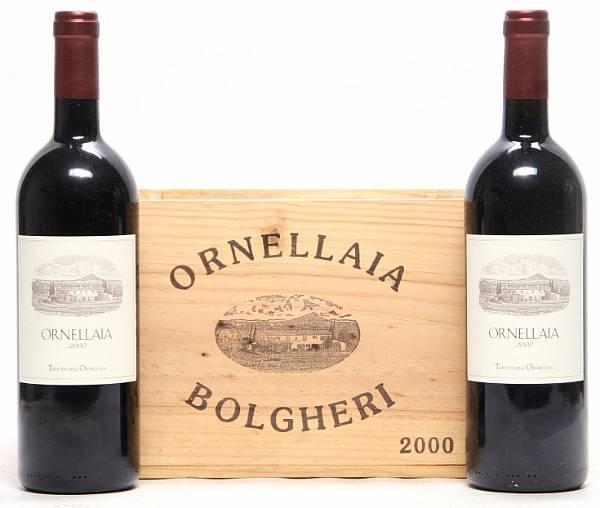 6 bts. Ornellaia, Tenuta dell'Ornellaia, Bolgheri 2000 A-A/B (bn). Owc.