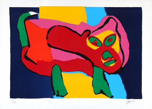 Karel Appel: Untitled. Signed Appel 71, 8/100. Lithograph in colours. Visible size 71 x 99.