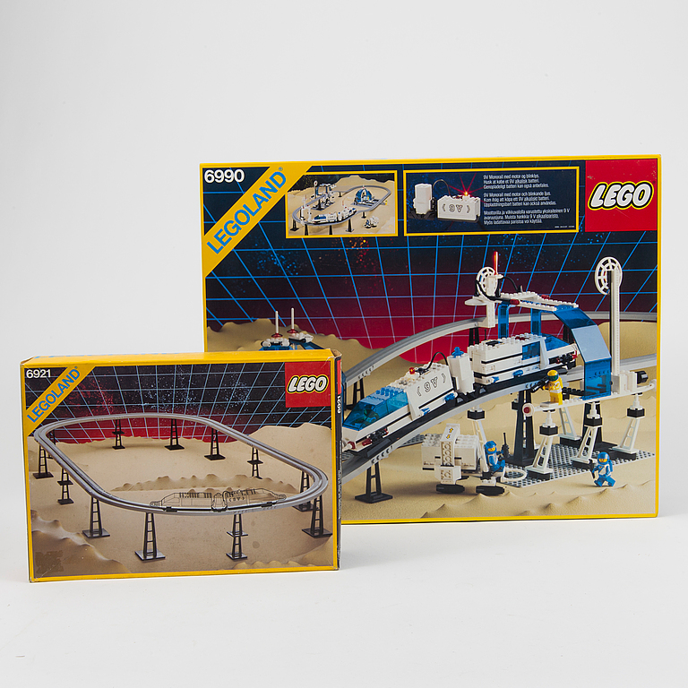 "LEGO. ""Monorail Transport System"" 6990 and ""Monorail Accessory Track"" 6921, Denmark, 1987-88."