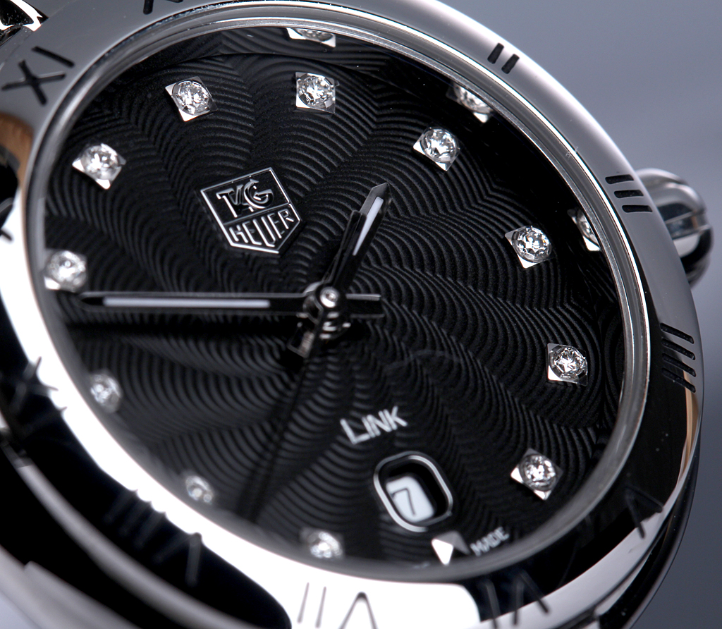 Tag Heuer 'Link' ladies' watch, steel, diamonds on black dial - box + 2016 cert.