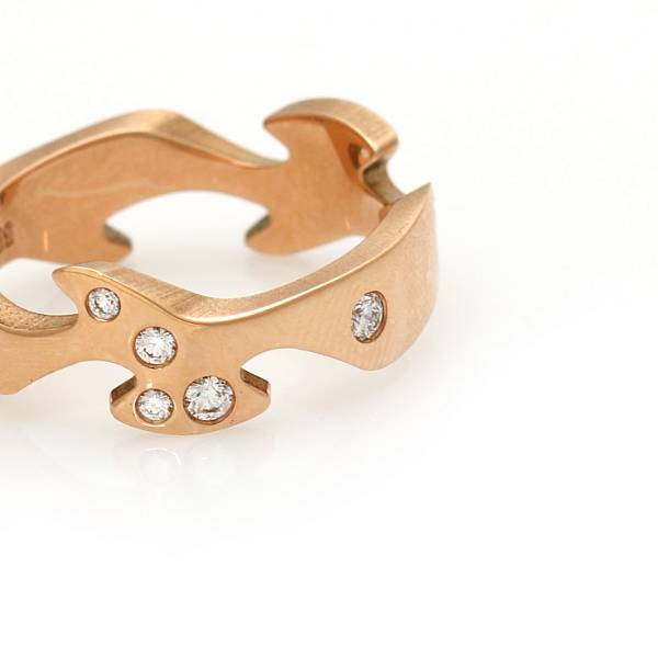 """Nina Koppel: A """"Fusion"""" ring set with eight brilliant-cut diamonds totalling app. 0.16 ct., mounted in 18k rose gold. Size 55. Georg Jensen after 1945."""