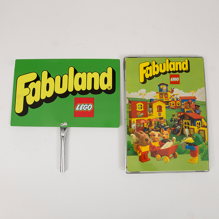 "LEGO. 5 pieces of shop signs, ""Fabuland"", 1970's / 80's."
