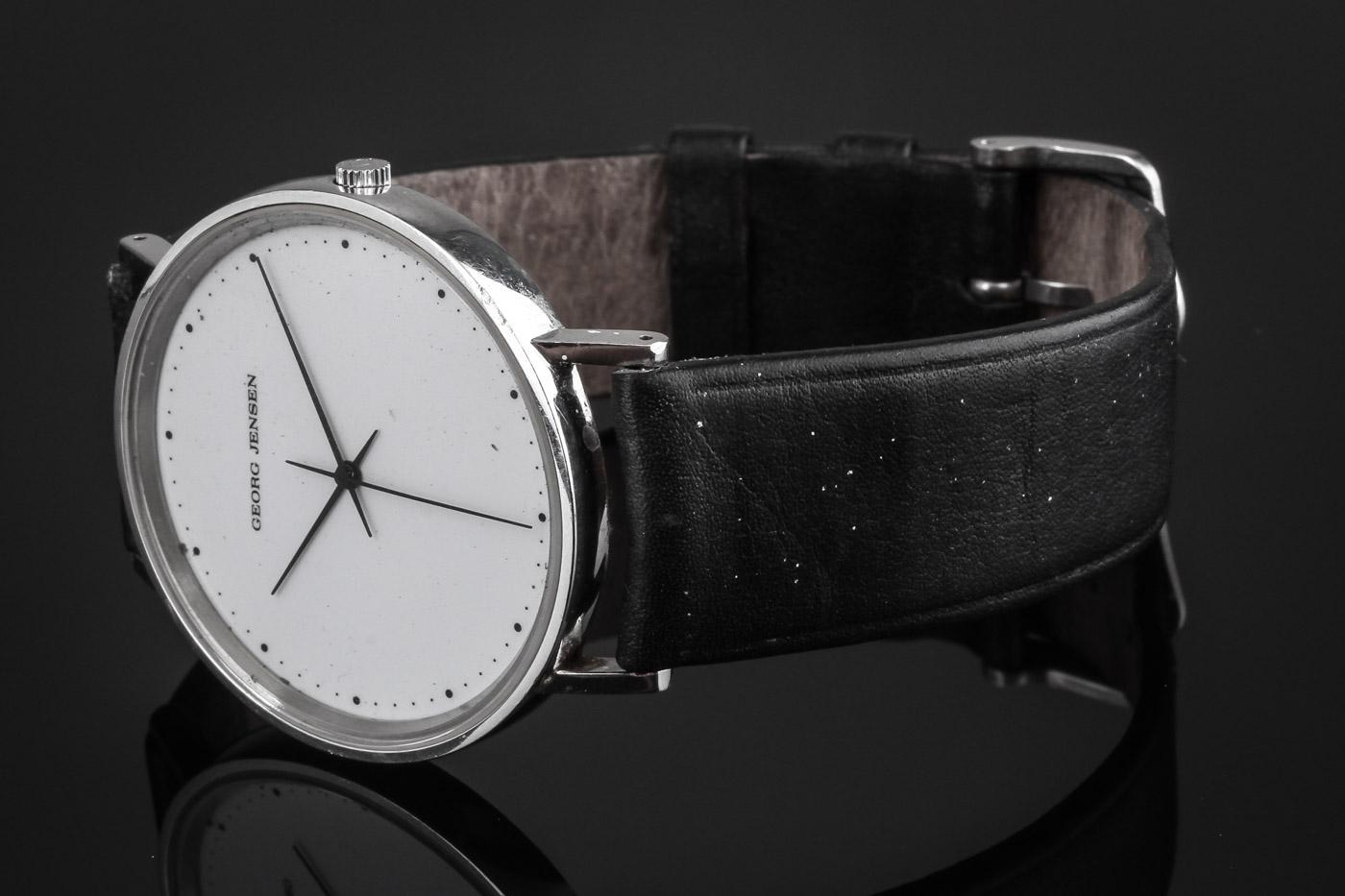 Georg Jensen. Gentleman's wristwatch of steel. Dess. 318. Design Henning Koppel.