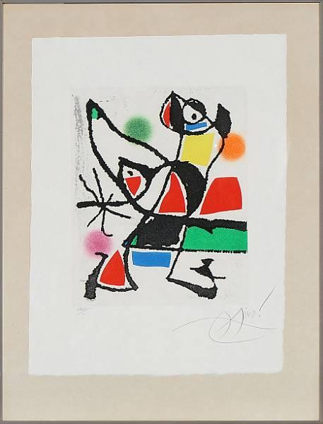 """Joan Miró: Composition from the series """"Le Marteau sans Maître"""", 1976. Signed Miro, XXVII/L. Sheet size 44 x 33 cm."""