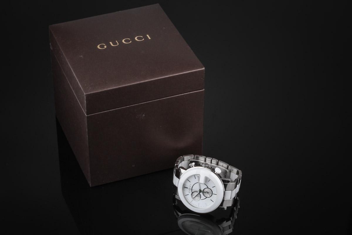 Gucci G Chrono Chronograph ladies watch steel and white ceramic