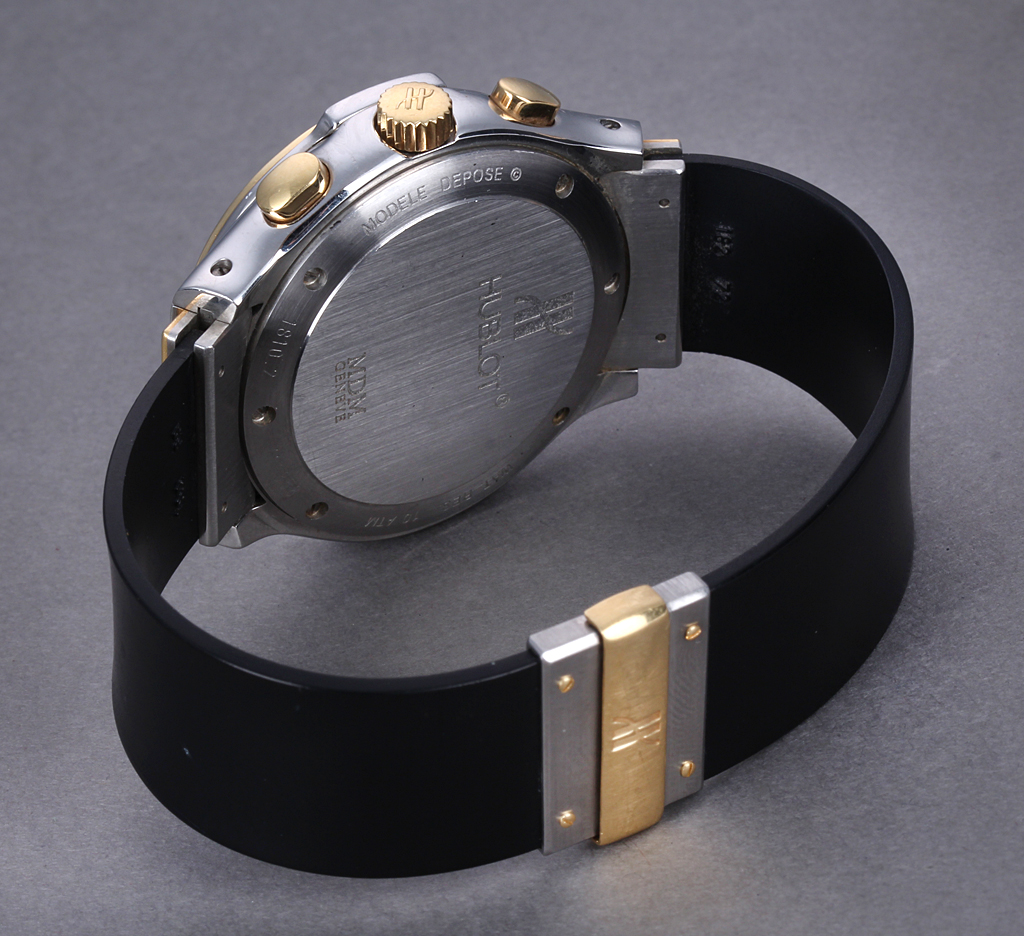 Hublot 'MDM Chronograph'. Men's watch, 18 kt. gold and steel, with dial, 1990s