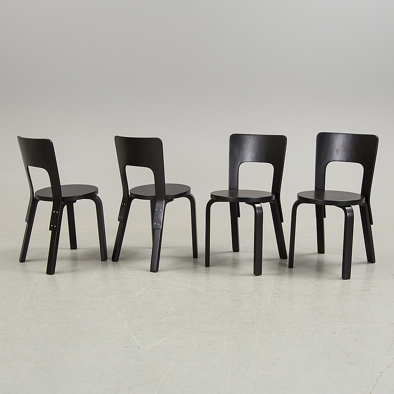 Alvar Aalto. 4 chairs and table, Artek, Finland.