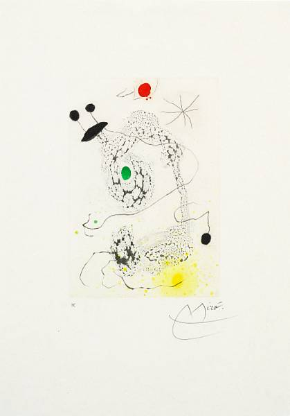 "Joan Miró: ""Passacaille"", 1968. Signed Miro, H.C. Aquatint, etching and carborundum. Sheet size 55 x 39 cm."