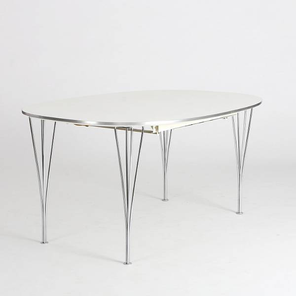 "Bruno Mathsson, Piet Hein: Superellipse"". Dining table with extension and two extra leaves. Legs of chromed steal. Top of white laminate and aluminium edge. (3)"