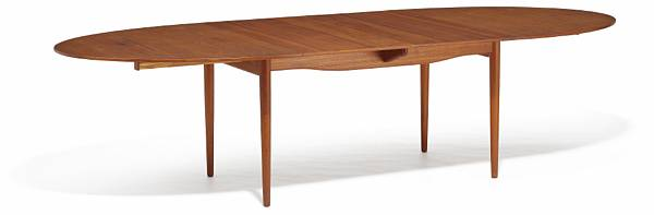 """Finn Juhl: """"Judas Table"""". Oval teak dining table with extension and two extra leaves. Top and leaves with circular silver inlays. (3)"""