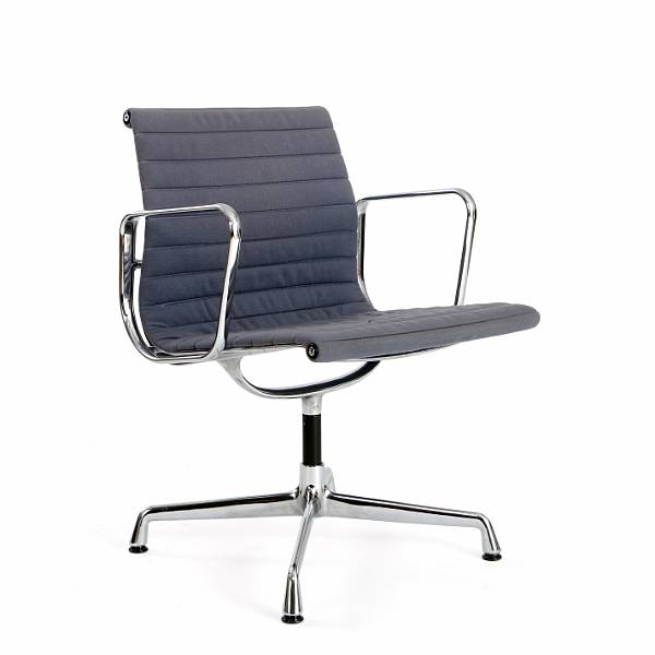 "Charles Eames, Ray Eames: ""EA 107"". Office chair with frame and armrests of chromed aluminium. Seat and back upholstered with grey wool. Manufactured by Vitra."
