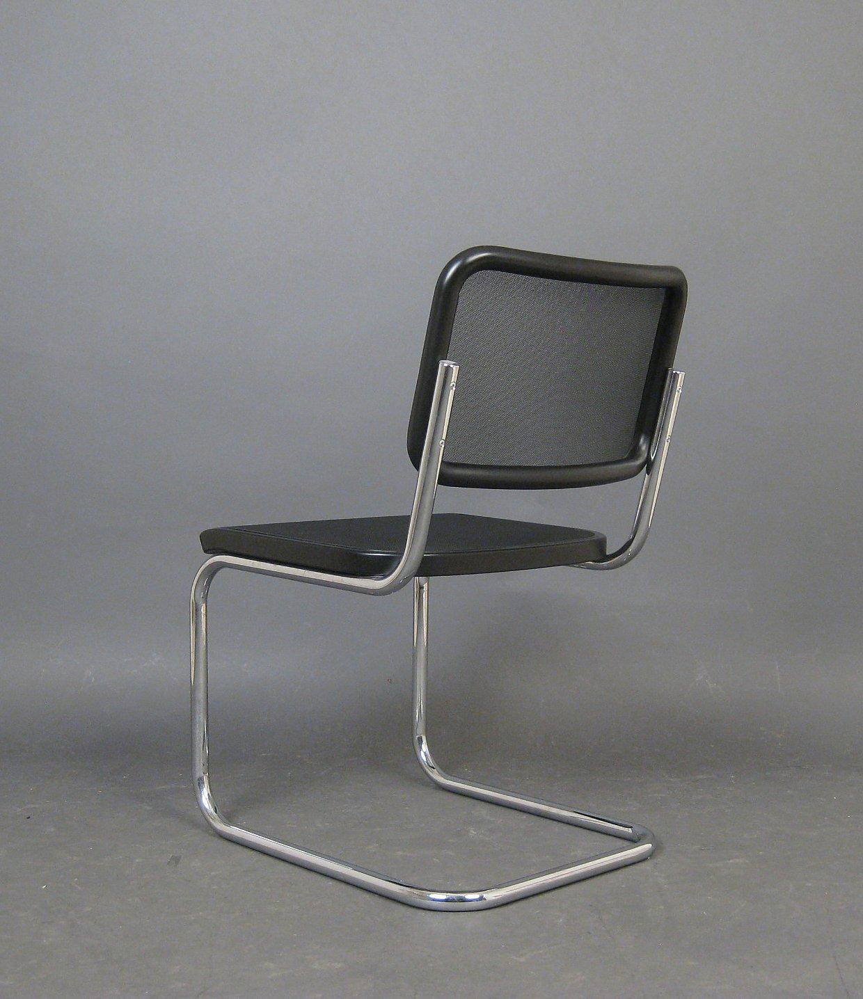 Marcel Breuer, tubular steel cantilever chair model S 32 N in network of Thonet