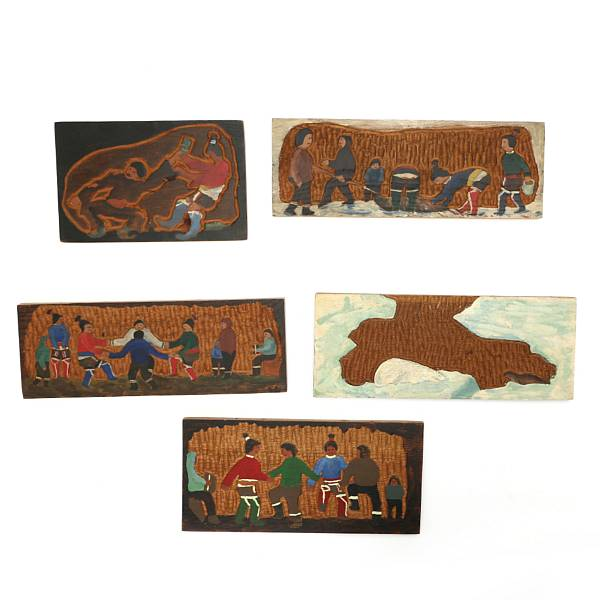 Unknown artist, 20th c. : Five painted and carved wood relieves from Greenland, signed SN. (5)