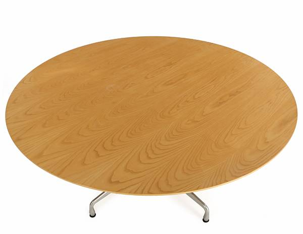 Charles Eames, Ray Eames: Circular dining table with aluminium base. Top of ash. Manufactured and marked by Vitra.