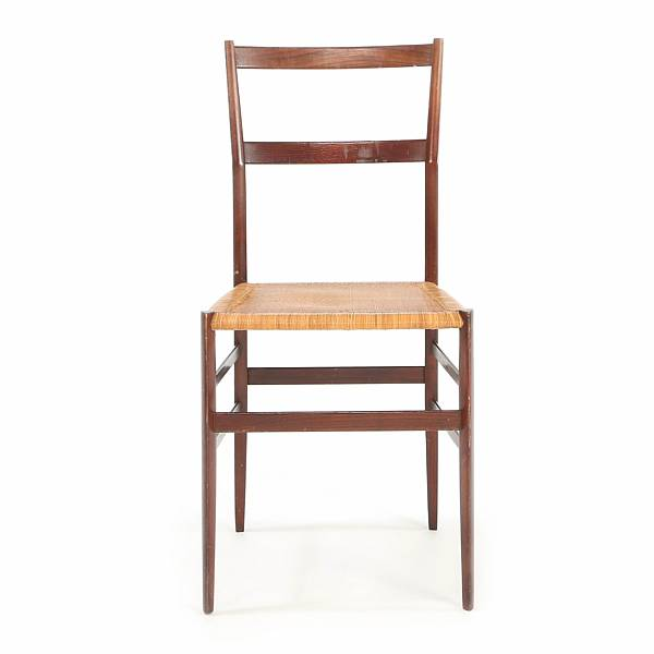 "Gio Ponti: ""Superleggera"". Four dining chairs with frame of stained ash. Seat with woven cane."