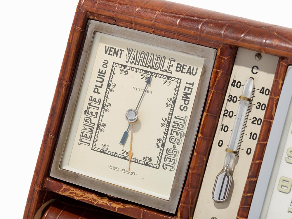 Hermès (Manuf. by Jaeger-LeCoultre) Clock & Barometer, c.1940's