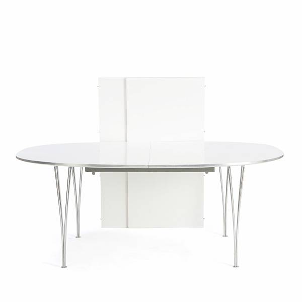 "Piet Hein, Bruno Mathsson: ""Superellipse"". Table with legs of chromed steel. Top with white laminate and aluminuim edge. Manufactured by Fritz Hansen. (3)"