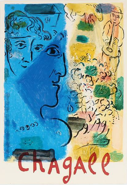 """Marc Chagall: """"Blue profile"""", 1967. Lithographic exhibition poster in colours. Sheet size 74 x 51 cm."""